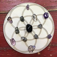 """Protection Grid Kit- All crystals included - traveling size with 5"""" wood Grid and instructions"""