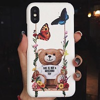 Moschino Tide brand classic print iPhoneXS max hard shell leather phone case cover 3
