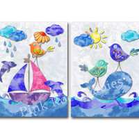 Watercolor nautical nursery ocean wall decor kids room wall art baby boy room artwork playroom decoration sea life poster wale dolphins