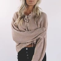 The Long Run Blush Waffle Knit Sweater