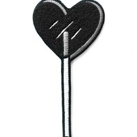Heart Lolli Large Chenille Patch - Black