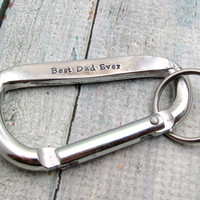 Personalized Dad Keychain - Father's Day - Carabiner Keychain - Hand Stamped Keychain - Mens Key Chain - Gift for Him - Best Dad Ever
