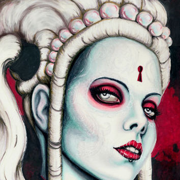 Day of the Dead portrait Kerli stretched canvas