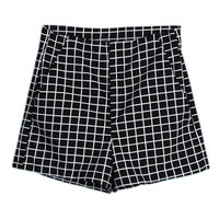 ROMWE Mid-rise Check Pocketed Shorts