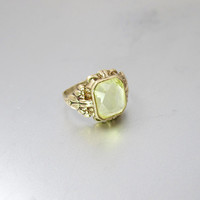 Victorian Gold Peridot Ring. 14K Rose Gold Emerald Cut Peridot Solitaire. Antique Alternative Engagement Ring.