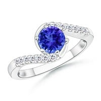 Solitaire Tanzanite and Diamond Bypass Ring