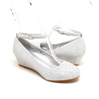 Silver Color Wedge with Rhinestones