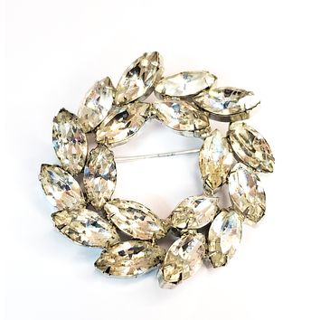 Weiss signed large marquis cut clear rhinestone circle cluster brooch mid century 1950's