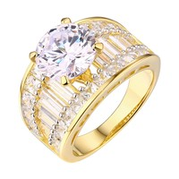 Round Cut Solitaire Ring Ladies Bridal Engagement Gold On 925 Silver Cubic Zircon