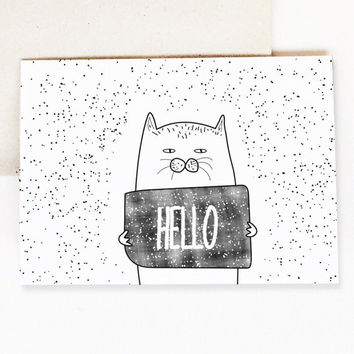Cat Hello Card - Anniversary Cards - Friendship Card - Love Cat - Paper - Greeting Cards - Card for Cat Lover
