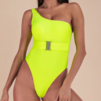 Explosive female one-piece swimsuit pure color fluorescent green belt buckle one-piece bikini