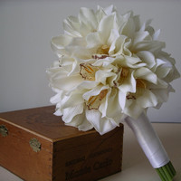 White Cymdidium Orchid Wedding BOUQUET & by BloomedToLast on Etsy