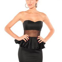 Sheer Mesh Strapless Peplum Dress