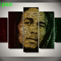 AtFipan HD Printed Modular Wall Paintings Bob Marley Abstract Poster No Frame Modern Painting on Canvas Pictures For Living Room
