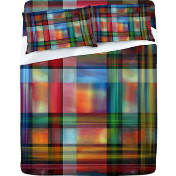 DENY Designs Home Accessories | Madart Inc. Multi Abstracts Plaid Sheet Set