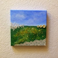 Field of Buttercups Abstract Landscape of Washington Palouse Rolling Hills Yellow Flowers Upcycled