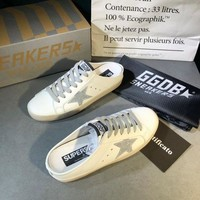 Golden Goose Ggdb White Leather And Silver Star Slipper DCCK