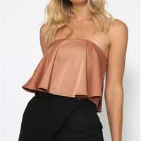 Strapless Wrapped Chest Flounce Top