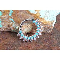 Turquoise and CZ Hoop Earring