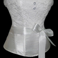 White Lace Waist Tie Overbust Corset