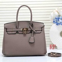 Hermes Women Leather Fashion Clutch Bag Handbag Tote Shoulder Bag Set Two Piece