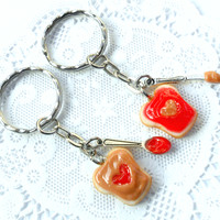 Peanut Butter and Strawberry Jelly Heart Keychain Set, With Knife & Spoon, Best Friend's Keychains, Cute :D