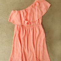 Sweet Ruffled Apricot Dress [4145] - $32.00 : Vintage Inspired Clothing & Affordable Summer Frocks, deloom | Modern. Vintage. Crafted.