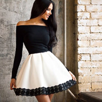 Black Chic Lace Splice Off Shoulder Long Sleeve Cocktail Party Skater Dress for Women
