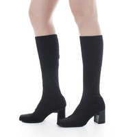 Neoprene Boots 9 / 8.5 Black Stretch Boots Tall Knee High Heel Boots Minimalist 90s Goth Club Vintage Shoes Women's Size US 9 / UK 7 / EUR39