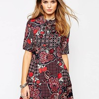 Glamorous Fit and Flare Dress in Geometric Print