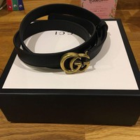 DCCK Genuine Black Leather Gucci Belt With Gold Double G Size 85/32 Inch