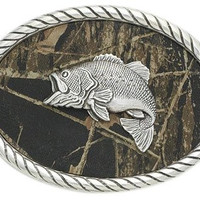 Nocona Mossy Oak Bass Fish Camo Belt Buckle