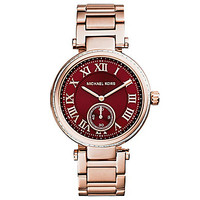 Michael Kors Skylar Rose Gold Crimson Sunray Dial Watch