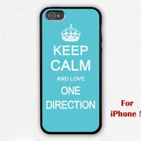 iPhone 5 Case, keep calm and love one direction iphone 5 case, blue iphone 5 case, case for iphone 5