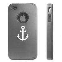 Apple iPhone 4 4S 4 Silver D4090 Aluminum & Silicone Case Cover Anchor
