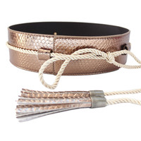 Faux Leather Fringe Tie Obi Belt