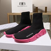 Balenciaga Speed Trainers Black With Pink Sole Sneakers