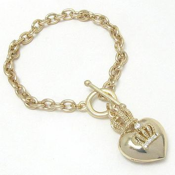 Crystal Crown on Gold Puffed Heart Charm Toggle Bracelet