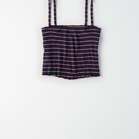 AE Bralette Cropped Tank Top, Navy
