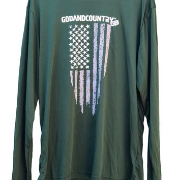 Long Sleeve United As Intended Patriotic Shirt with Distressed American Flag [Forest Green]