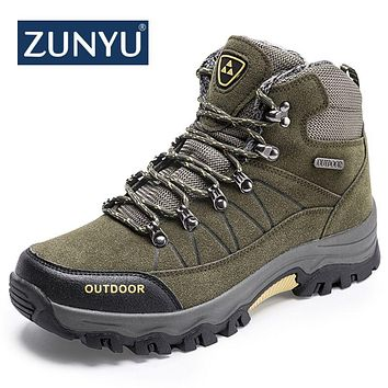 Asifn Mens Outdoor Snow Boots Winter Hiking Trekking Warm Climbing Shoes Booties Mid Top Fur/&Plush Fashion Lace-Up