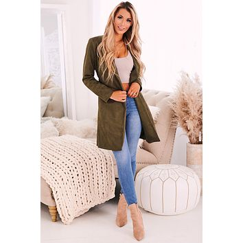 Your Loss Faux Suede Jacket (Olive)
