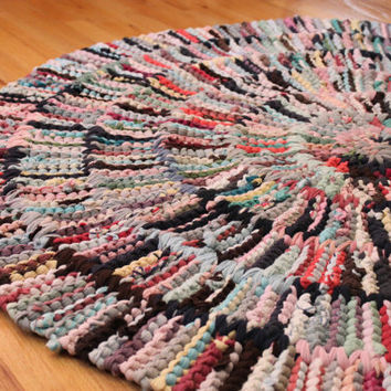Pink T Shirt Rag Rug Circular Round Nursery Brown Gray White Yellow Mint Green Aqua Upcycled Modern Cottage Chic 46 in -US Shipping Included