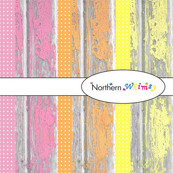 Digital Scrapbooking Paper Background Set – rustic shabby barn board and polka dots12x12 sheets in yellow pink and orange INSTANT DOWNLOAD
