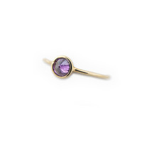 LARGE PURPLE CZ  RING - GOLD VERMEIL