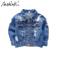 ActhInK New 2018 Boys Ripped Denim Jacket Baby Kids Street Motorcyle Disstrressed Jeans Jacket Boys Spring Denim Outwear, C178