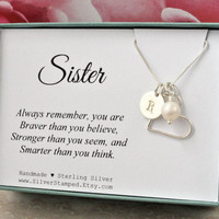 Gift for Sister necklace sterling silver initial heart freshwater pearl necklace unique personalized sister's birthday gift sisters jewelry