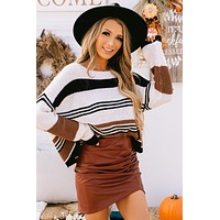 Lost In Thought Color Block Sweater (Black Brown)