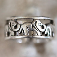 Sterling Silver Stacking Ring Elephant Band