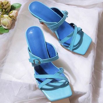 Fashion Office girl high-heel sandals One-step convenience sandals and slippers Cat heel sandals blue